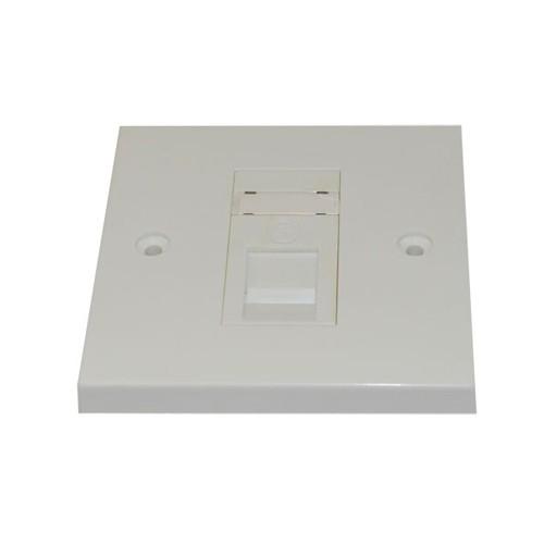 Single Flush Wallplate with 1 CAT5e Jack,White