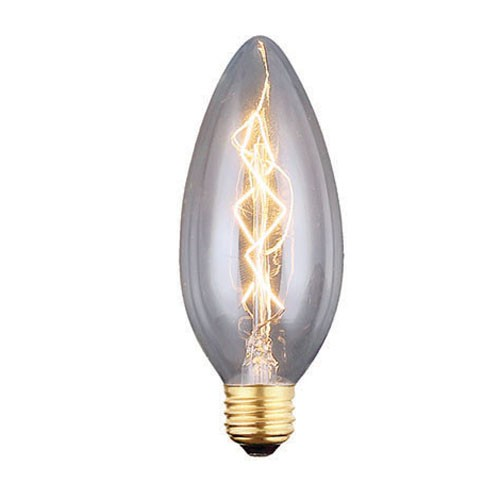 40 Watt - Vintage Bulb - CA10 Decorative Chandelier - 3.80 Inch Length - Candelabra E12 Base - Z-Shape Filament - Clear