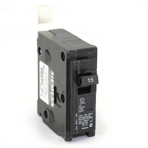Siemens B115 Bolt On Circuit Breaker - 1-Pole - 120/240VAC - 15 Amp - Thermal Magnetic Type