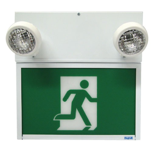 Steel LED Running Man Sign Combo - Adjustable Lamp Head - Single Face - 120/277/347V with Battery Backup - 30 Minutes Emergency Lights - Universal Mounting - Beghelli SL-RM1236L1-0LR-M-2SR12WQ-120277347V