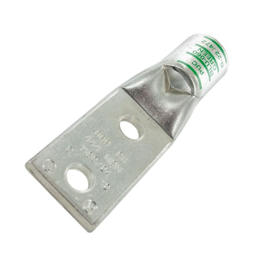 Techspan BLU060D - Standard Barrel - Two Hole Tongue with Inspection Window - 600 kcmil Copper Conductor - 1/2'' Stud Hole - Green - 1-1/2'' Wire Strip Length
