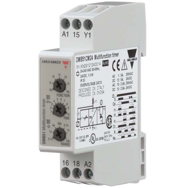 Carlo Gavazzi DMB51CM24 - Multifunction Timer - DIN Rail Mount - 0.1S-100Hrs - 5A SPDT Contact Output - Operates on 24VDC and 24-240VAC