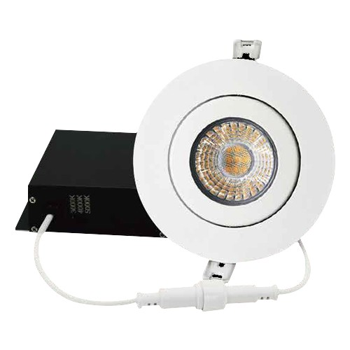 """DawnRay DR400GW - 4"""" OCCT Round Gimbal Slim Panel - 9W - 100-125V AC - 0.09A - 700 Lumens - 38° Beam Angle - 3000K, 4000K, 5000K All in One - White Trim - Dimmable"""