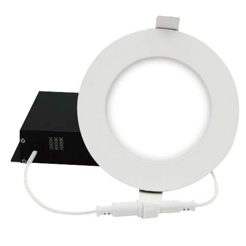 "DawnRay DR400RW - 4"" OCCT Round Slim Panel - 12W - 100-125V AC - 0.09A - 750~780 Lumens - 120° Beam Angle - 3000K, 4000K, 5000K All in One - White Trim - Dimmable"