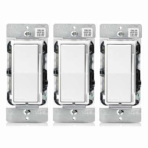 (3 PACK) Leviton DSL06-1LZ 300-watt LED Decora Rocker Slide Universal Dimmer and CFL/600-watt Incandescent for Single Pole or 3-Way, White, Ivory & Light Almond Color Change Kit Included