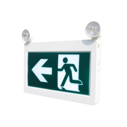 Etlin Daniels EC201WH-A13BB-GU-2RC - LED Running Man Exit Sign Combo Thermoplastic - Single & Double Sided - Battery Back Up Combo - 2 x 2W Remote Capability - 120/347V