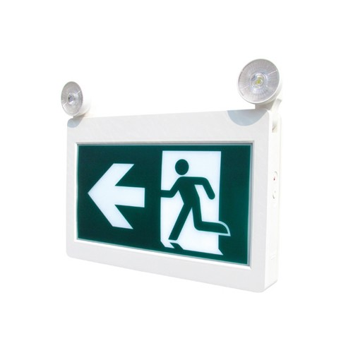 Etlin Daniels EC200WH-A13BB-GU-4RC - LED Running Man Exit Sign Combo Thermoplastic - Single & Double Sided - Battery Back Up Combo - 2 x 2W - Remote Capability - 120/347V
