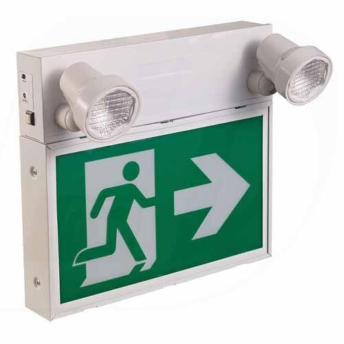 Etlin Daniels - LED Running Man Combo - Steel - 120/347 Volt - 2 x 2W Crisp White LED heads - Self Powered 6VDC 36W Battery Capacity - Over 2 hours Duration Standalone Unit