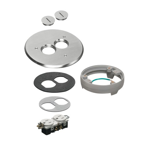 """Arlington FLB6220NLLR - Flip lid style Metal Cover Kit with Leveling Ring - 6"""" Round - Nickel-plated w (2) threaded plugs"""
