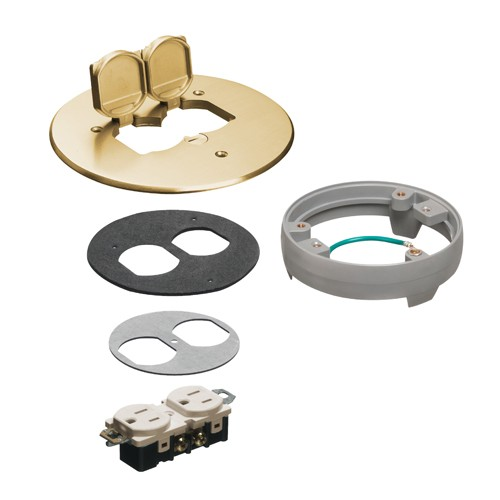 "Arlington FLB6230MBLR - Flip lid style Metal Cover Kit with Leveling Ring - 6"" Round - Brass w (2) flip lids"
