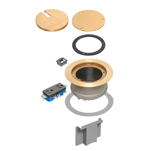 Arlington FLBC4580MB - InBox cover kit - Recessed Cover Kit - Brass-plated, w/ Decorator Style Receptacle - Metallic brass-plated cover
