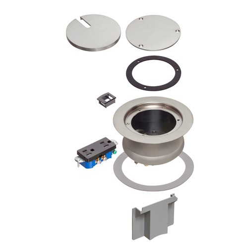Arlington FLBC4580NL - InBox cover kit - Recessed Cover Kit - Brass-plated, w/ Decorator Style Receptacle - Metallic nickel-plated brass cover