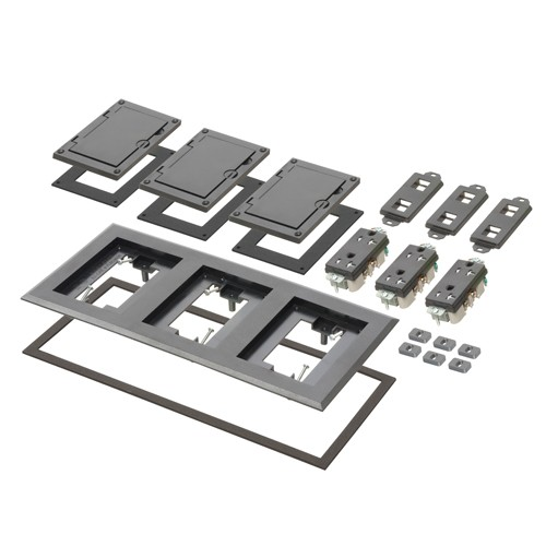 Arlington FLBC8530BL - Three Gang Plastic Cover Frame Kits - Includes (3) flip lid covers with gaskets, (3) 20A decorator-style receptacles, (3) gaskets, (3) low voltage inserts, installation screws - Black