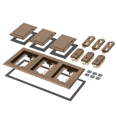 Arlington FLBC8530BR - Three Gang Plastic Cover Frame Kits - Includes (3) flip lid covers with gaskets, (3) 20A decorator-style receptacles, (3) gaskets, (3) low voltage inserts, installation screws - Brown