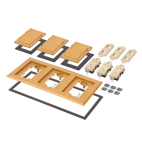 Arlington FLBC8530CA - Three Gang Plastic Cover Frame Kits - Includes (3) flip lid covers with gaskets, (3) 20A decorator-style receptacles, (3) gaskets, (3) low voltage inserts, installation screws - Caramel