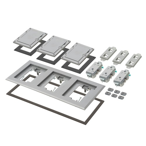 Arlington FLBC8530GY - Three Gang Plastic Cover Frame Kits - Includes (3) flip lid covers with gaskets, (3) 20A decorator-style receptacles, (3) gaskets, (3) low voltage inserts, installation screws - Gray