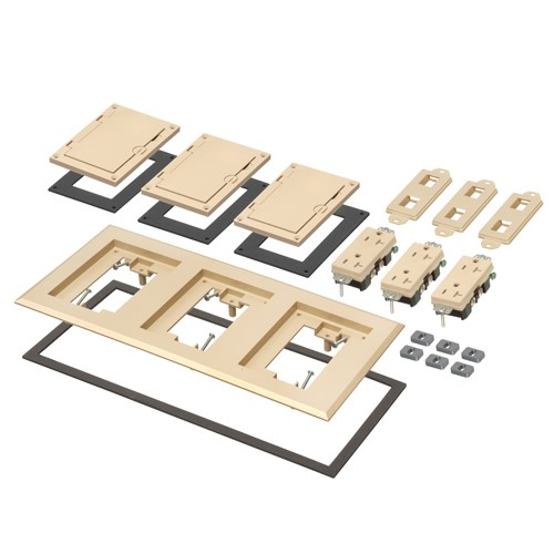 Arlington FLBC8530LA - Three Gang Plastic Cover Frame Kits - Includes (3) flip lid covers with gaskets, (3) 20A decorator-style receptacles, (3) gaskets, (3) low voltage inserts, installation screws - Light Almond