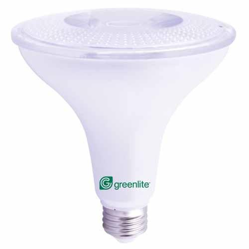 Greenlite - 15W LED PAR38 Replaces 120W Halogen - 120V - 3000K Flood - Dusk to Dawn Sensor Integrated - Recommended for Outdoor Use