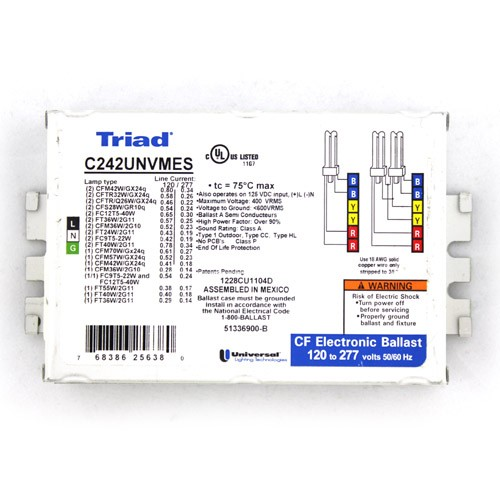 "Triad Ballast - C242UNVMES - For (1/2) x CFL 42 Watt - 4 Pin - 120-277V - Multi Exit with Studs (2"" on Center)"