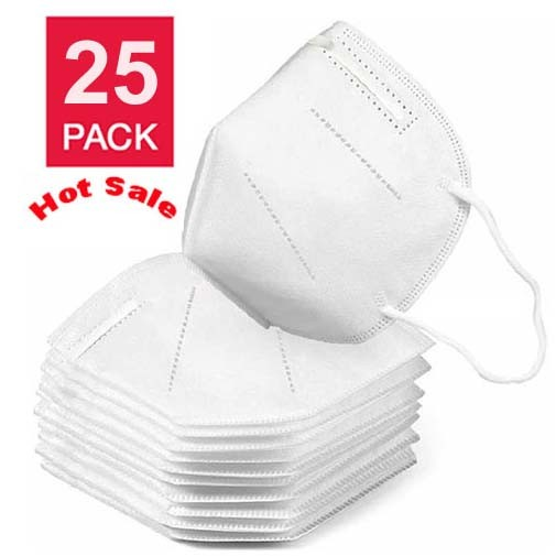 KN95 Disposable Protective Mask - Filtration Efficiency: > 95% - One Size for Adult - White Color - 25 PACK