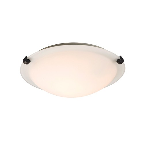 """Galaxy Lighting L680112WO016A1 - LED Flush Mount Ceiling Light - in Oil Rubbed Bronze finish with White Glass - 12-3/4""""D x 4""""H"""