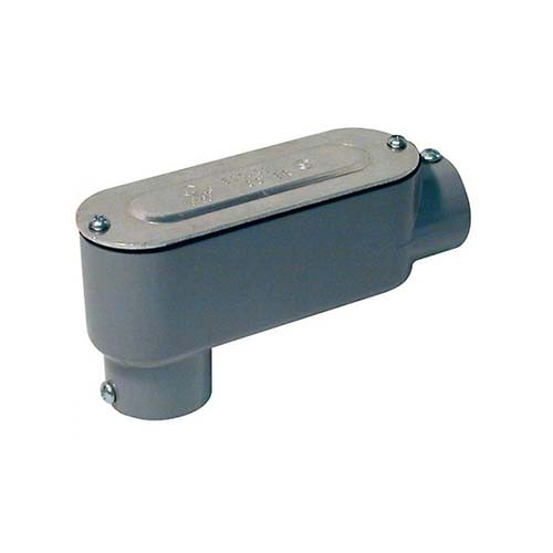 "RAB Design LB-400-CG RIGID COND BDY - Threaded Conduit Body - 4"" Conduit Entry - Grey Finish"