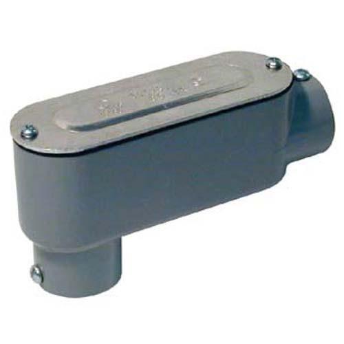 "RAB Design LB-150-CG CONDUIT BODY - Combination Conduit Body EMT (Set Screw) Rigid (Threaded) - 1-1/2"" Conduit Entry - Grey Finish"