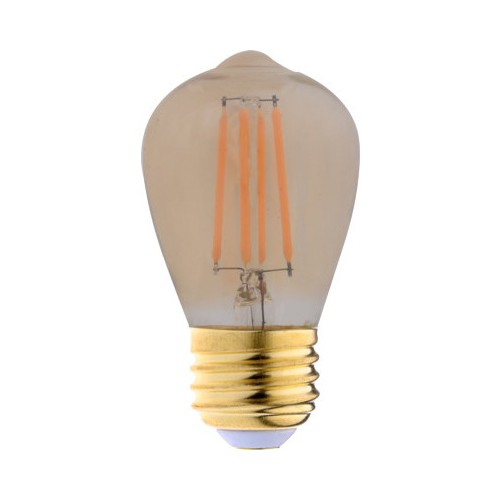 Eiko LED4WS14/FIL/822-DIM-G7 - LED Advantage Filament S14 - 320 Deg. - 4 Watt - 250 Lumens - Dimmable - 80 CRI - 2200K - Medium Screw (E26) Base - 120VAC - Golden - 24 Packs