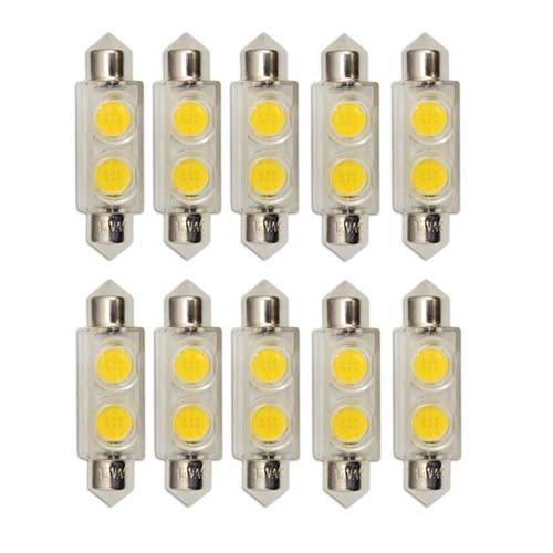 Bulbrite 770530 - 0.8W T3 Festoon Base LED Bulb - 3000K Warm White - Clear - 12V - 3W Festoon Equals - 10Packs