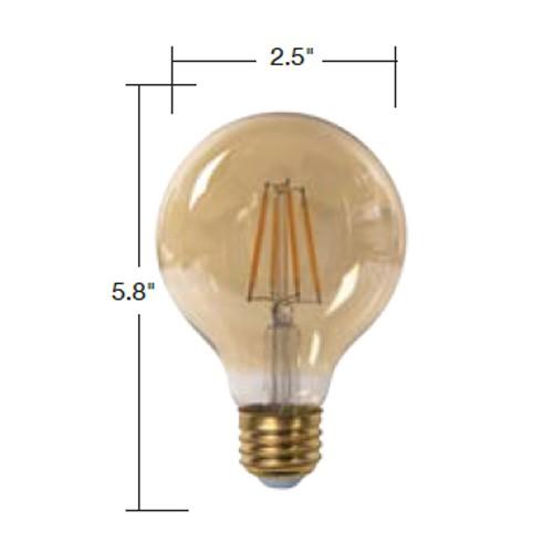 TCP LFG256025KAD - LED Filament Lamps - G25 - 5W (60W Equal) - Dimmable - Medium (E26) Base - 2500K - 500 Lumens - 120V - 6 Packs