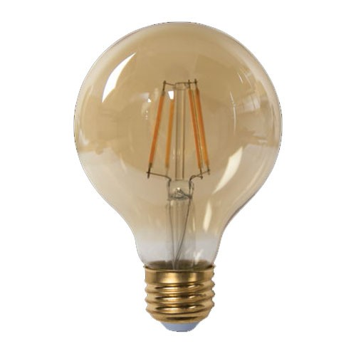 TCP LFG256025AD - LED Filament G25 - 5W - 120V - 500 Lumens - 2500K Warm White - 80 CRI - Dimmable - 60W Incandescent Equal - 6 Packs