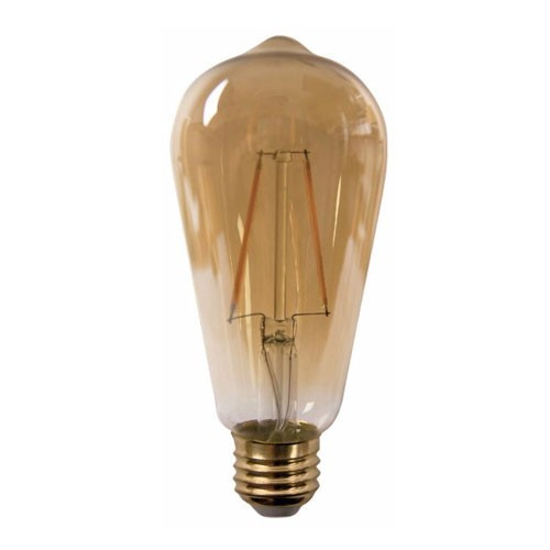 TCP LFST192522AD - LED Filament ST19 - 120VAC - 4.5W - 300 Lumens - 2200K Warm White - 80 CRI - 25W Equal - Dimmable - 270 Deg.Beam Angle - Amber - 6 Packs