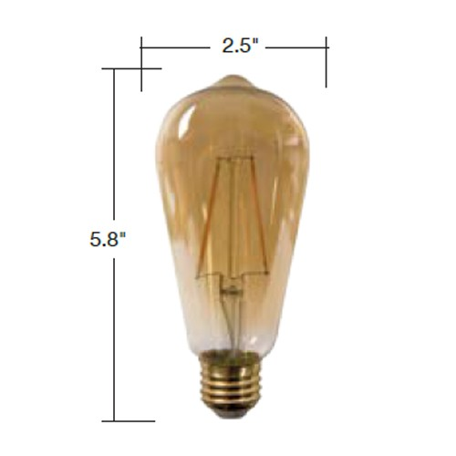 TCP LFST4025KAD - LED Filament Lamps - ST19 - 5W (40W Equal) - Dimmable - Medium (E26) Base - 2200K - 400 Lumens - 120V - 6 Packs