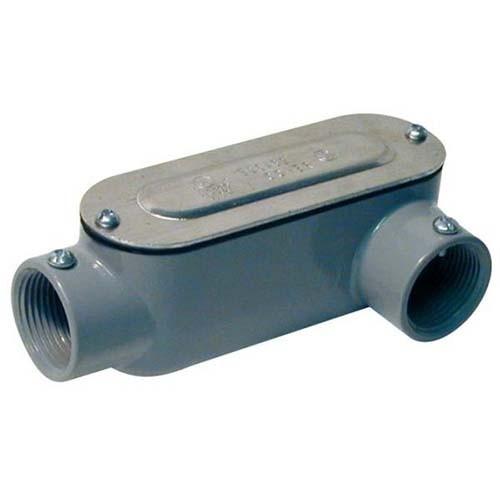 "RAB Design LL-150-CG CONDUIT BODY - Combination Conduit Body EMT (Set Screw) Rigid (Threaded) - 1-1/2"" Conduit Entry - Grey Finish"