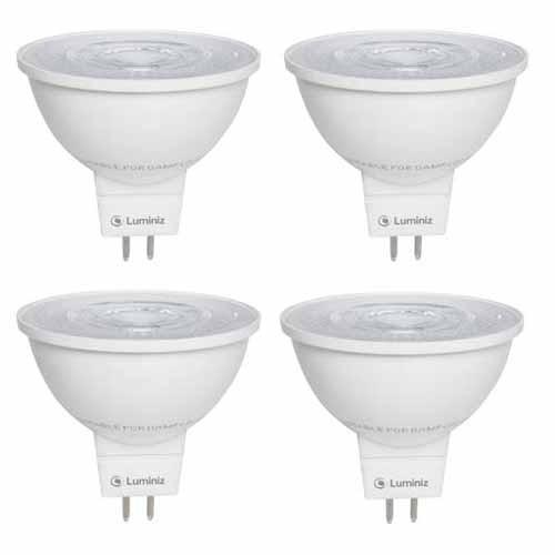 Luminiz 6W - DIMMABLE LED - MR16 12V GU5.3 BASE - FLOOD - 3000K Warm White - 4 PACK