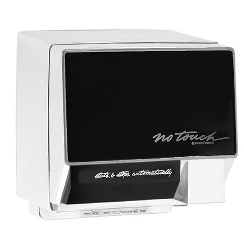 No Touch NT126-004 - Hand Dryer - 110-120V - Aluminum Chrome body w/ Ebony front panel - Quiet Economical Hand Dryers