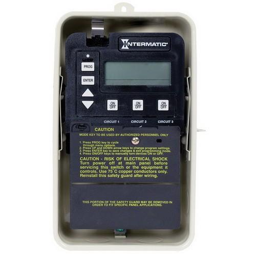 Intermatic PE153 - Pool/Spa Digital Two-Speed Control - P1353ME Mechanism in Nema 3R Steel Case - Beige Finish - 3-SPST - 120 or 240 Volt