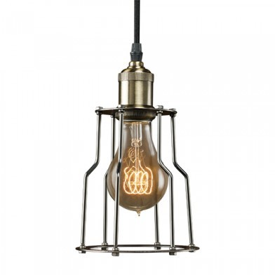 Bulbrite 810012 - Vintage 1-Light Brass Industrial Cage Mini Pendant - Pewter Finish - NOS/PEND/CAGE-PW