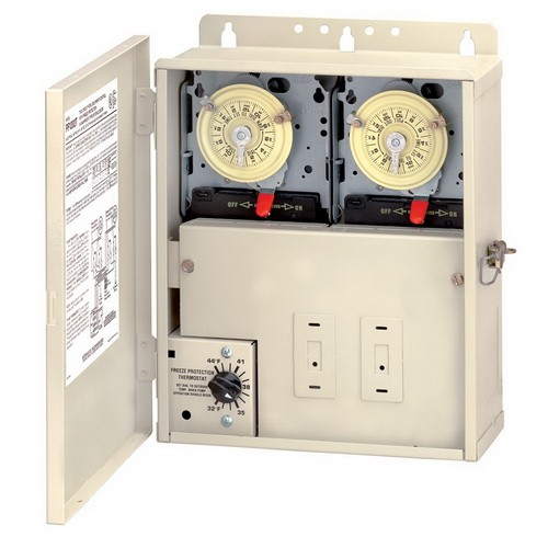Intermatic PF1202T - Pool-Spa Freeze Protection Control - For Pools with Cleaner - Dual Timer - Beige Finish - 240 Volt