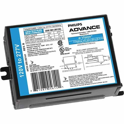 Philips Advance IMH39GBLSM - Electronic Ballast For 39W Metal Halide Lamps With Bottom Exit Leads And Mounting Studs - 120-277V