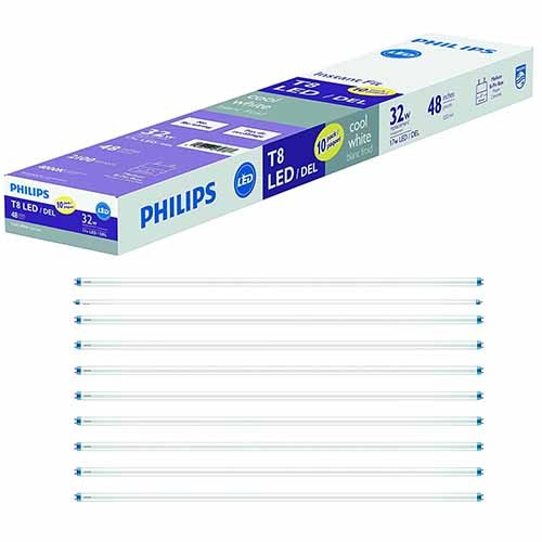 Philips 479782 - 17T8/LED/48-840/IF21/G1/10 - 17W T8 LED Replace 32W 4ft T8 Fluorescent Tube - Instantfit 4000K Cool White - 10 Pack