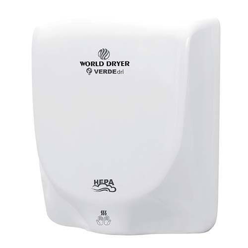 VERDEdri Hand Dryer - High Speed Surface-Mounted ADA Compliant - HEPA Filtration - Universal Voltage 110 to 240 Volts - Aluminum White
