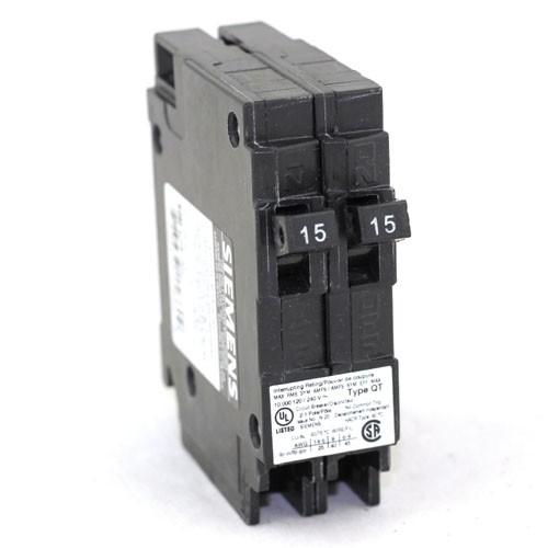 Siemens Q1515NC - Type QT - Plug in Circuit Breaker - Tandem 2-1 Pole 15/15 Amp - 120/240VAC - Thermal Magnetic Type - No Common Trip