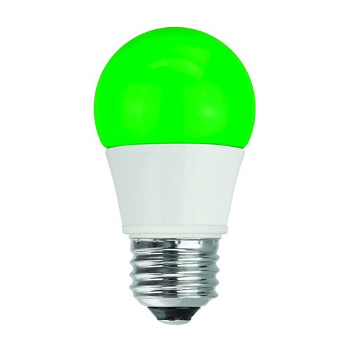TCP RLA155GR - LED A15 - 5W - 120V - 25,000 Hours Life - Non Dimmable - 40W Equal - Green - E26 Base Type - 4 Packs