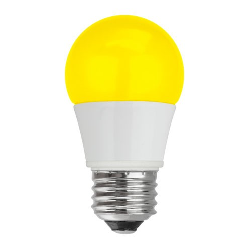 TCP RLA155Y - LED A15 - 5W - 120V - 25,000 Hours Life - Non Dimmable - 40W Equal - Yellow - 4 Packs