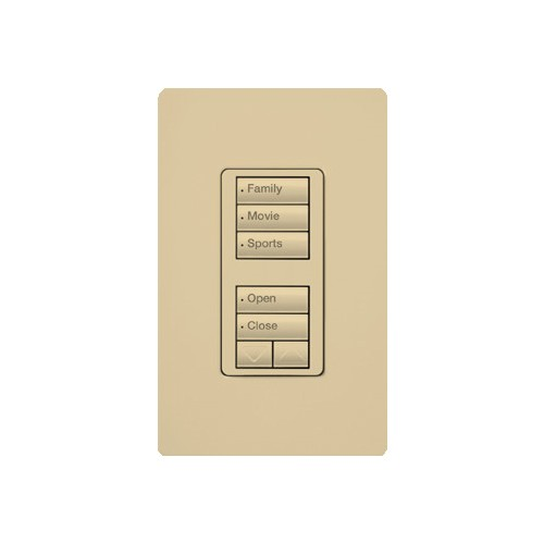 Lutron RRD-HN1RLD-IV - RadioRA 2 C•L Hybrid keypad - dual group 3-button and 2-button with raise/lower - Max rating is 100W approved LED/CFL - 450W incandescent/Halogen/MLV - Ivory