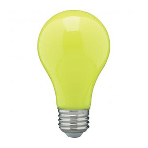 Satco S14987 - 8 Watt - A19 LED - Medium Base - 120V - Ceramic Yellow - Dimmable - 24 Packs