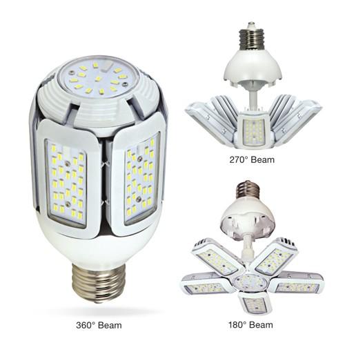 Satco S29752 - High Lumen Multi-Beam Industrial/Commercial LED Lamps - 60W - 100-277V - 5000K Daylight - 7800 Lumens - Mogul extended base - 360/270/180 Deg Beam Spread - White Finish - Non-Dimmable