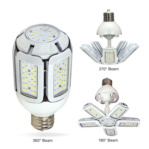Satco S29769 - High Lumen Multi-Beam Industrial/Commercial LED Lamps - 75W - 100-277V - 5000K Daylight - 9800 Lumens - Mogul extended base - 360/270/180 Deg Beam Spread - White Finish - Non-Dimmable