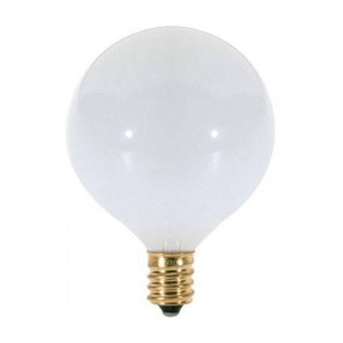 Satco S3260 - Incandescent - 25W - 120V - G16 1/2 - Candelabra Base - Gloss White - C-7A Filament - 175 Lumens - Dimmable - 25 Packs